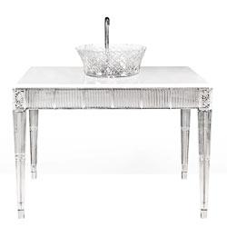 Mobile bagno in cristallo con piano in marmo cristallino per un bagno di lusso made in Italy