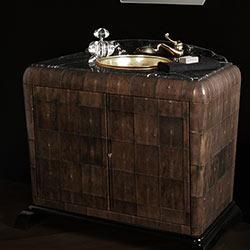 Mobile bagno classico art Déco rivestito in pelle di galuchat: bagni di lusso bianchini & Capponi made in Italy