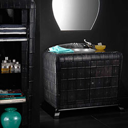 Mobile bagno classico art Déco con vetrina portaoggetti rivestiti in pelle di galuchat: bagni di lusso bianchini & Capponi