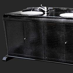 Mobile da bagno classico Art Déco in legno rivestito con similpelle Cocco e piano in marmo nero marquina: Arredo e Design bagni di lusso made in Italy