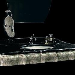 Mobile bagno classico, console con rivestimento in pelle di galuchat: arredo e design bagni di lusso made in Italy
