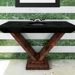 mobile bagno classico stile Déco in legno di radica 100% made in Italy