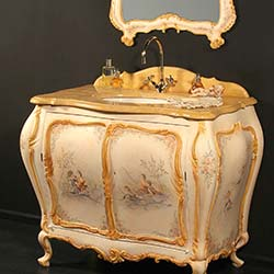 Mobile bagno in legno intagliato con finiture di pregio decorato a mano per un bagno di lusso in stile classico veneziano