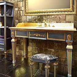 Mobile da bagno classico in stile impero con intagli e decori oro per un bagno di lusso made in Italy