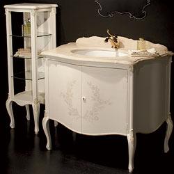 Mobile da bagno classico stile rinascimento con vetrina portaoggetti: design ed arredo bagno di lusso