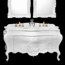 mobile bagno intagliato classico in stile rinascimento: arredo bagno di lusso made in Italy