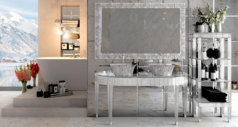 Mobili bagno in cristallo made in Italy presentati da Bianchini&Capponi